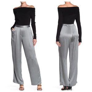 Reiss Arianna Metallic Fluid Wide Leg Pant Silver